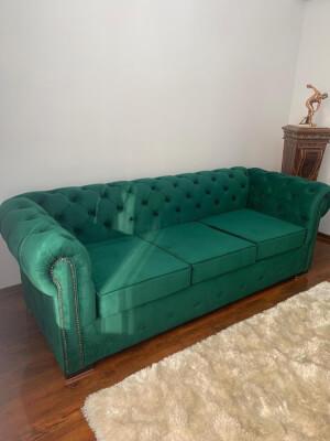 Canapea Chesterfied 3 locuri verde 2