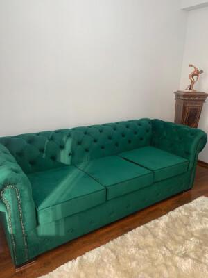 Canapea Chesterfied 3 locuri verde
