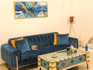 Canapea albastră model VIYANA