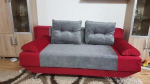 Canapea rosu cu gri - model New Style
