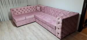 Colțar roz pudră Chesterfield