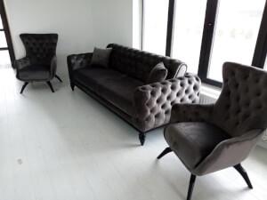 Set canapea cu 2 fotolii gri - model Jasmine