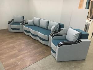 Set canapea cu fotolii turcoaz alb - model Milano
