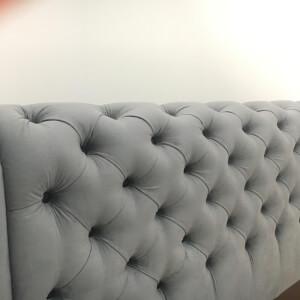 Tăblie gri pat tapițat Crystal