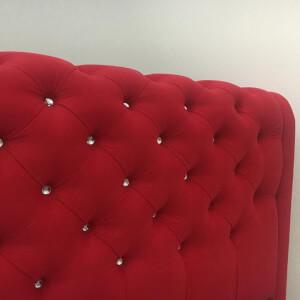 Tăblie roșie pat tapitat Crystal