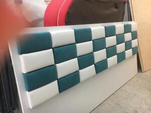 Tăblie pat tapițata 2 culori
