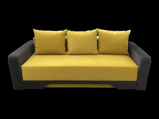 Canapea extensibilă galben gri, tapiterie din catifea - model MIRELA