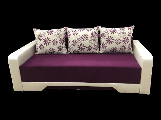 Canapea extensibilă confortabilă mov cu alb, structură lemn masiv fag - MIRELA