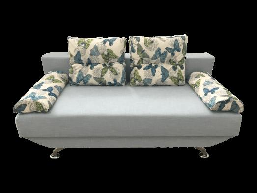 Canapea 3 locuri extensibilă, tapițerie din catifea bleu, saltea relaxa - NEW STYLE
