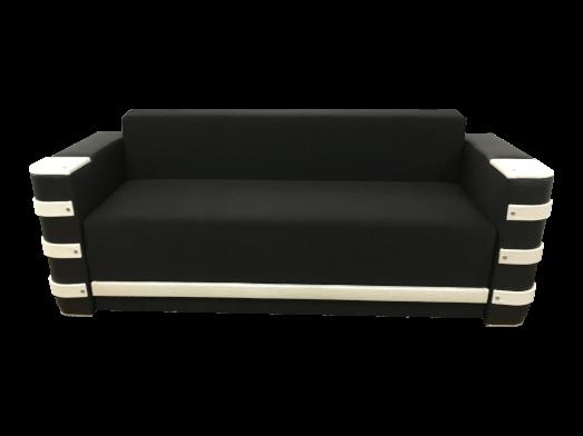 Canapea extensibilă catifea și piele ecologică negru alb, 230 x 90 cm - LARA