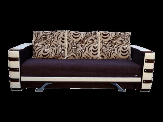 Canapea extensibilă saltea relaxa și ladă pentru depozitare, tapițerie maro alb - LARA
