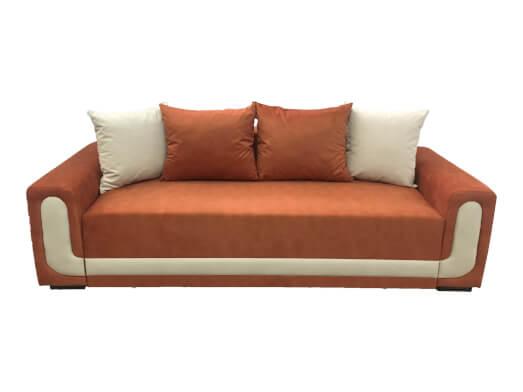 Canapea 3 locuri extensibilă, cu extensie pe role, tapițerie de catifea portocalie - EVA