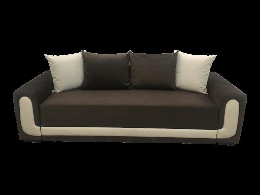 Canapea extensibila 3 locuri, catifea maro cu inserții textile, ladă depozitare - EVA