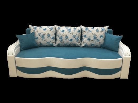 Canapea extensibilă albastru alb, 3 locuri, rezistentă, extensie pe role și ladă pentru depozitare - MILANO