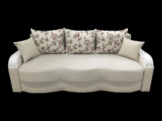 Canapea extensibilă elegantă crem, catifea și piele ecologică - MILANO