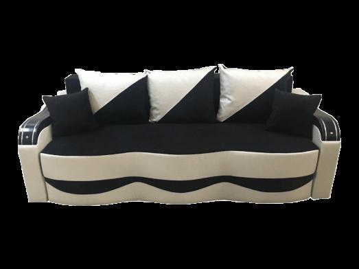 Canapea extensibilă cu saltea relaxa și tapițerie catifea si piele ecologică negru alb - MILANO
