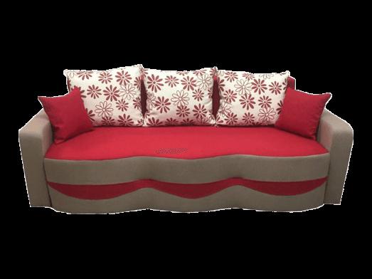 Canapea extensibilă cu extensie pe role, tapițerie de stofă roșu cu cappuccino, 5 perne incluse - MILANO