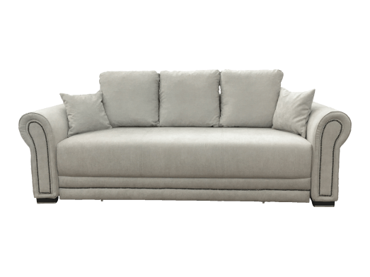 Canapea extensibilă cu 3 locuri, model clasic, tapițerie din catifea gri deschis - ALEXANDRA