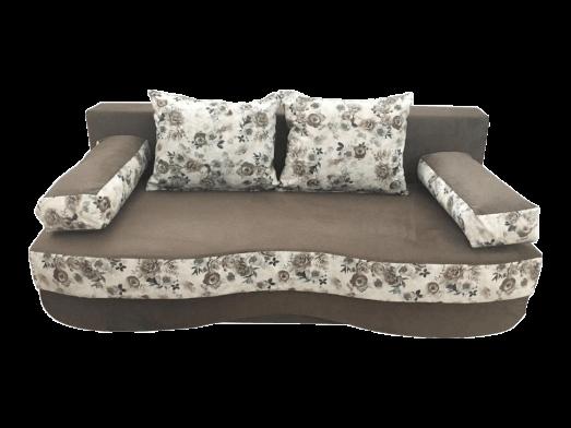 Canapea extensibilă 3 locuri, maro, cotiere tip perne și saltea relaxa - ROXY