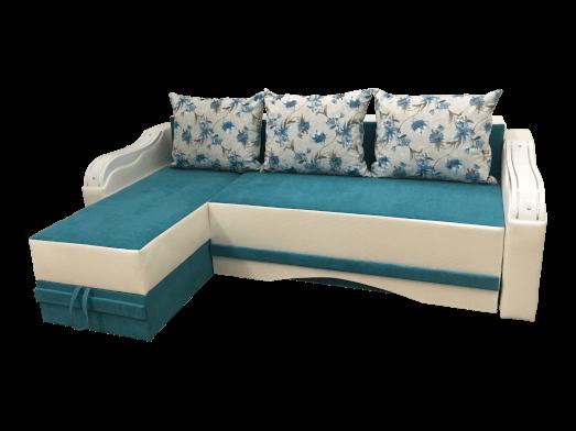 Colțar extensibil 3 locuri albastru alb cu 2 lăzi pentru depozitare - MINI ORNAMENT