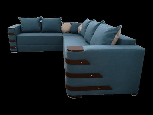 Colțar extensibil albastru cu saltea relaxa și accesorii pe brațe - DIAMOND