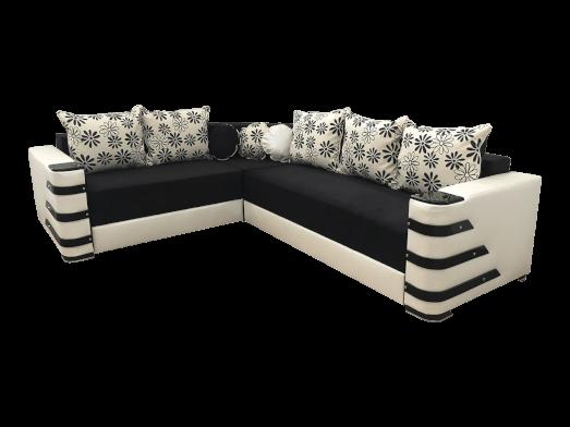 Colțar extensibil negru structură lemn, tapițerie catifea - DIAMOND