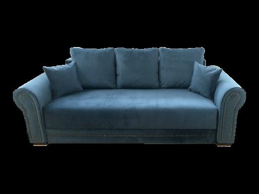 Canapea extensibilă, structură de lemn masiv, ladă depozitare, 240 x 90 cm, albastră - ALEXANDRA