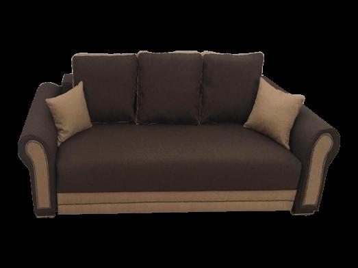 Canapea 3 locuri maro, extensibilă, structură de lemn masiv și saltea relaxa - ALEXANDRA