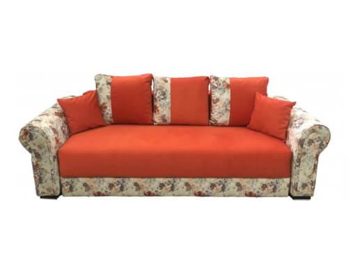 Canapea extensibilă portocalie cu imprimeu floral - model BELLA