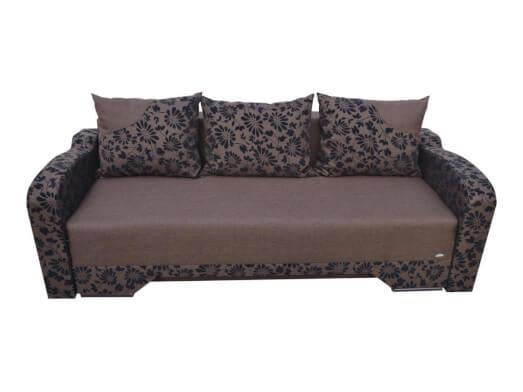 Canapea extensibilă 3 locuri, maro cu imprimeuri - model BIANCA MB