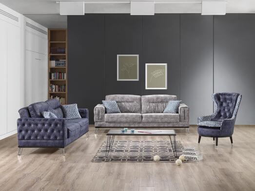 Set canapea 3 locuri cu 2 fotolii, albastru - model BELLINI