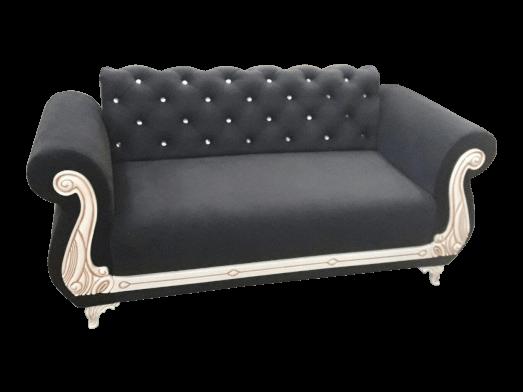 Canapea fixă 2 locuri, neagră - model FANCY