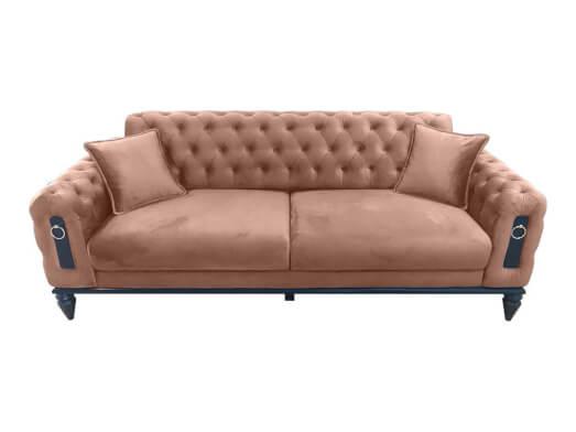 Canapea fixă 3 locuri roz pudră - model GLORIA