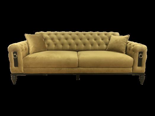 Canapea fixă 3 locuri galbenă - model GLORIA
