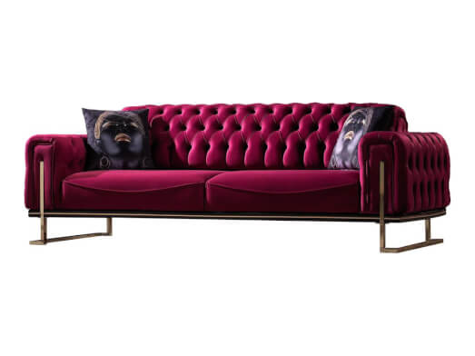 Canapea fixă 3 locuri, roșie - model ROLEX
