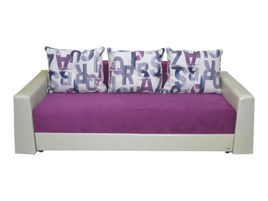 Canapea extensibilă mov cu alb - model SARA
