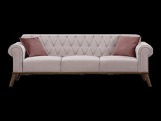 Canapea fixă 3 locuri, crem - model SOLO
