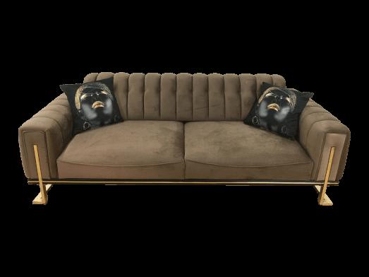 Canapea 3 locuri, maro, cu cadru metalic - model VIYANA
