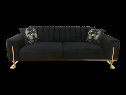 Canapea 3 locuri, neagră, cu cadru metalic - model VIYANA