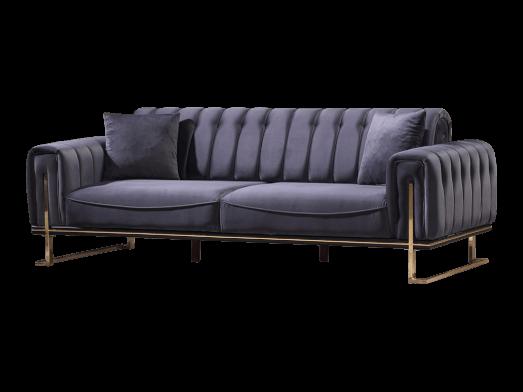 Canapea 3 locuri, albastră, cu cadru metalic - model VIYANA