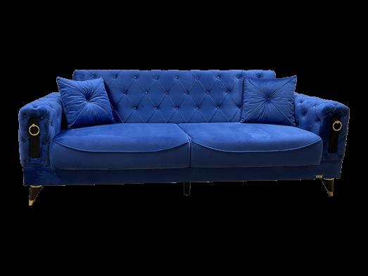 Canapea extensibilă 3 locuri, albastră - model LIZBON