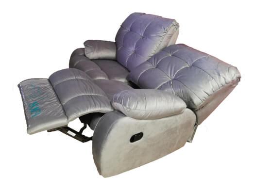 Canapea cu 2 locuri, 2 reclinere manuale, structură lemn masiv, catifea, 155 x 100 x 97 cm