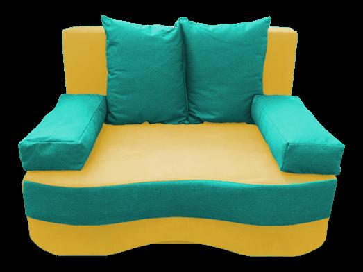 Canapea extensibilă cu ladă depozitare, galben turcoaz- model JUNIOR