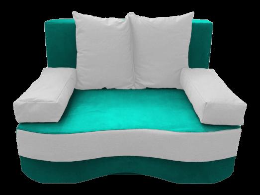 Canapea extensibilă 2 locuri, turquoise alb - model JUNIOR