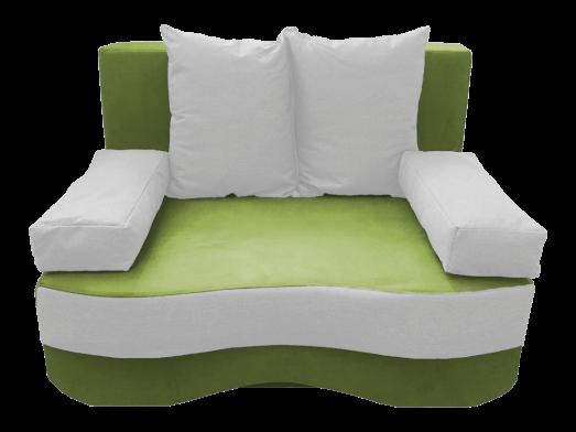 Canapea două locuri extensibilă, verde deschis alb - model JUNIOR