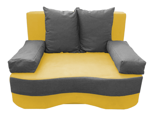 Canapea extensibilă 2 locuri, galben gri - model JUNIOR