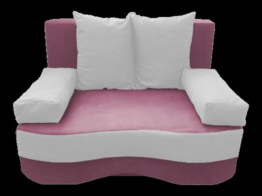 Canapea extensibilă 2 locuri, roz pastel alb - model JUNIOR