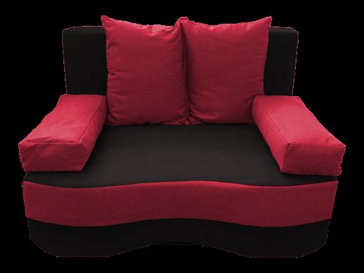 Canapea extensibilă 2 locuri, negru roșu - model JUNIOR