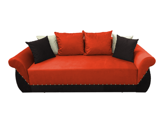 Canapea extensibilă 3 locuri, portocaliu negru - model Royal