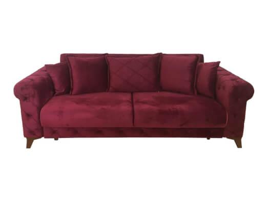 Canapea extensibilă 3 locuri, bordo - model RIVA